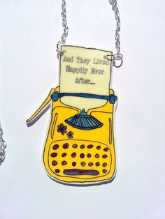 Vintage typewriter necklace shrink plastic pendant  by Floralchic, $20.00