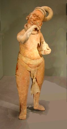 Jaina Island figurine of a drunkard, 400 - 800 AD , AD 400 - 800 according to Born of Clay, from the National Museum of the American Indian.... Maya,Campeche.Mexico