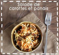 Salade de carottes et panais rapés au soja, miel et raisins secs