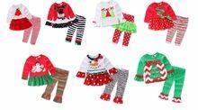 Free Shipping 216 New Girls Christmas Clothes Christmas outfits Chrismas T shirt and Leggings 2 piece Clothing Set(China (Mainland))