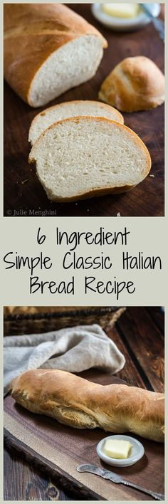 Homemade bread doesn't have to be hard or take all day. This Classic Italian Bread recipe uses only 6 ingredients and is ready in under two hours. | HostessAtHeart.com via @HostessAtHeart (Two Ingredients Biscuits)