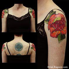 Double Graphic Peony Tattoos by Brian Ragusin Color Tattoo, I Tattoo, Peonies Tattoo, Botanical Tattoo, Arm Tattoos, Shoulder Tattoo, Floral Style, Tattoo Inspiration, Peony