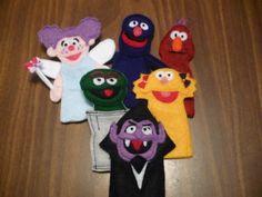 SAM Felt Finger Puppets - Sesame Street Characters - Grover, Oscar the Grouch, Abby Cadabby, Telly, Count Von Count, & Zoe. $27.00, via Etsy.