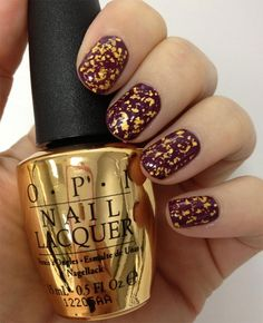OPI The Man With The Golden Gun is an 18kt real gold top coat that contains gold flecks for a bond girl manicure!