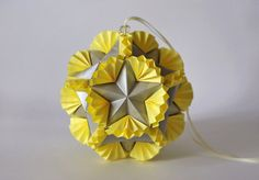 Origami paper ball  Kusudama silver Stars in the by Waveoflight