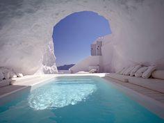 White Cave Pool, Katikies Hotel in Santorini, Greece via rojaksite  #Swimming_Pool #Katikies_Hotel #Santorini #Greece #Cave_Pool #rojaksite