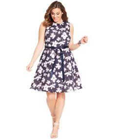 84050dea742 SL Fashions Plus Size Floral-Print Mesh Dress Plus Fashion