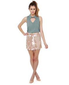 Champagne brunch beige sequin skirt #LoveLuLus