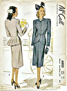 1940's Vintage Suit Pattern  McCALL 6800  by ShellMakeYouFlip, $28.00