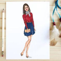 Style of Brush by Gizem Kazancigil gizem kazancigil (Gizem . Style of Brush b Dress Design Sketches, Fashion Design Sketchbook, Fashion Design Drawings, Fashion Sketches, Dress Designs, Fashion Drawing Dresses, Fashion Illustration Dresses, Drawing Fashion, Dress Fashion