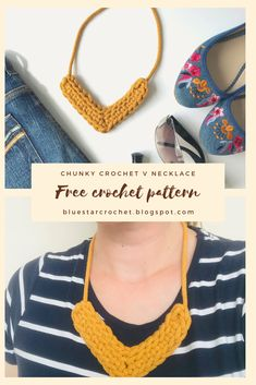 I'm so happy to bring you this free chunky crochet necklace pattern which is super quick and easy! It's a perfect crochet pattern for some leftover cotton cord or t shirt yarn! Chunky Crochet, Bead Crochet, Free Crochet, Crochet Girls, Yarn Necklace, Knitted Necklace, Fabric Necklace, Knot Necklace, Quartz Necklace
