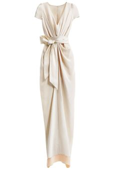 Sleek and sexy- yet modest, Asian inspired wedding dress  Brides: Style Inspiration: Chic Shanghai Crepe-de-chine column dress with a charmeuse sash, $1,400, BHLDN.