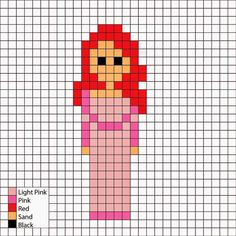 The Little Mermaid, Ariel in pink dress - Perler Mania Pattern