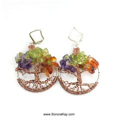 Four Seasons  Tree of Life Earrings Made To by SonoraKayCreations