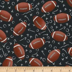 Timeless Treasures Footballs Black Football Bedroomchanging Pad Covershome Decor