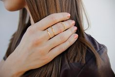 We share an affinity with stacked midi rings with our latest Chic.
