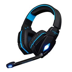 FeelGlad TM Stereo Gaming Headphone Headset with Microphone USB and 35 mm Audio Interface Bass LED Light Volume Control for PC Computer Game Video Music Black with Blue -- Find out more about the great product at the image link. Pro Gaming Headset, Gaming Earphones, Headphones With Microphone, Best Headphones, Pc Computer, Laptop Computers, Noise Cancelling Headphones, Computer Accessories, Pc Games