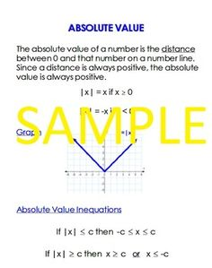 This is a one page document summarizing the Absolute Value Function. COMING SOON: All of my math summary sheets in one PDF file. Quadratic Function, Logarithmic Functions, Sequence And Series, Absolute Value, Greek Alphabet, Trigonometry, First Page, Summary, Mathematics