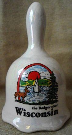 "Wisconsin ""The Badger State"" Glazed Souvenir Ceramic Bell | Gertie's Gems"