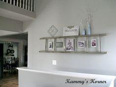 Kammy's Korner: horizontal wall ladder with photo display and shelf Country Decor, Farmhouse Decor, Diy Wall, Wall Decor, Wall Art, Art Walls, Wall Collage, Wall Ladders, Living Room Decor