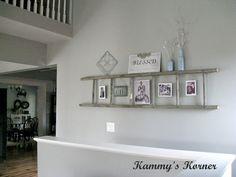 Kammy's Korner:  horizontal wall ladder with photo display and shelf
