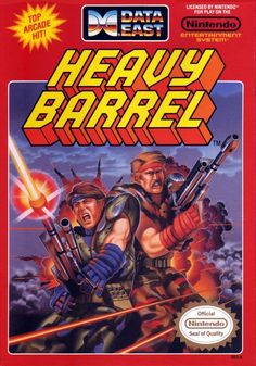 """Box cover for the 1987 run-and-gun game """"Heavy Barrel,"""" released for arcades and the Nintendo Entertainment System by Data East"""