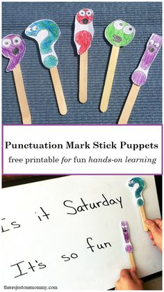 Teach Your Child to Read - hands-on learning activity for punctuation marks: free printable punctuation mark stick puppets - Give Your Child a Head Start, and.Pave the Way for a Bright, Successful Future. Punctuation Activities, Teaching Punctuation, Spelling Activities, Kids Learning Activities, Language Activities, Teaching Writing, Fun Learning, English Activities For Kids, English Games
