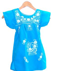 Turquoise  Mexican Handmade Embroidered baby  dress