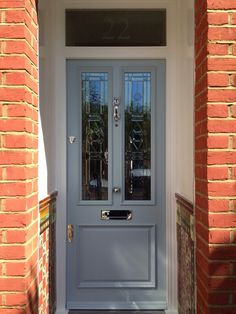 E Carpentry portfolio shows examples of the doors, windows & wardrobes we have fitted for our customers House Front Door, Glass Front Door, House With Porch, House Entrance, Green Front Doors, Grey Doors, Front Door Colors, Chartwell Green Front Door, Solidor Door