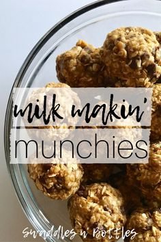 Milk Makin' Munchies- Lactation Boosting Treats Breast Feeding just got a little sweeter! Milk Makin' Munchies- a quick, no bake recipe to help boost your breast milk production. Contains 3 key ingredients known to increase milk supply quickly! Boost Milk Supply, Increase Milk Supply, Milk Production Increase, Lactation Smoothie, Breastfeeding Foods, Breastfeeding Smoothie, Extended Breastfeeding, Pregnancy Foods, Breastfeeding Support