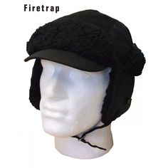 Save 40% - Was £26.99 - Now Only £15.99  Firetrap, Black, trapper hat, featuring imitation fur finish and andjustable tie up with Firetrap logo tab to back, model name: Stalker Hat . 40% Cotton & 60% Polyester.