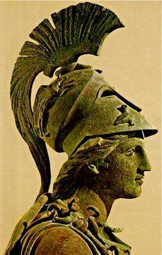 Minerva (Roman name) Verdigris;  (Greeks called her Athena)