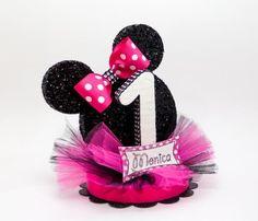 Red Polka Dot Cake Topper Mouse Ears Cake por EllasPartyDesigns