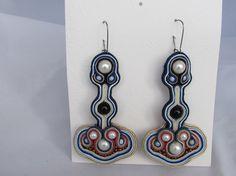 Dangle long fine multi-coloured very light earrings soutache
