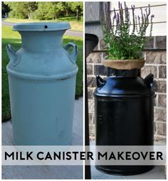 See how I turned an old milk canister into a planter for my porch! www.littleglassjar.com