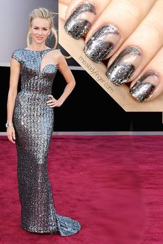 MANICURE MUSE: Naomi Watts in Armani Privé at the Oscars My choice for Best Dressed last night. High drama and sophistication all the way down to the Ladyfingers… get the look.