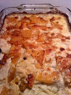 Pumpkin potato parmesan gratin (vegetarian), maybe w/ broccoli...