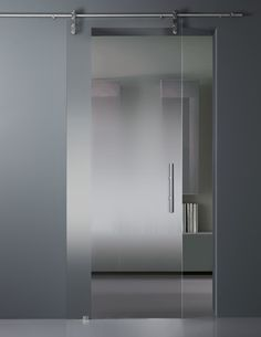 vitrealspecchi - Nuanced satin glass sliding door.