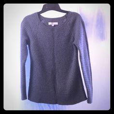 Loft grey sweater - sz. M Cotton, nylon,  rabbit hair, rayon, and wool blend gray sweater, size medium. Side slits at the hem. Worn once. LOFT Sweaters