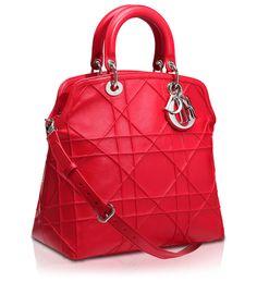 #DIOR GRANVILLE - Geranium Leather 'Dior Granville' bag Stylish Handbags, Cute Handbags, Best Handbags, Purses And Handbags, Sacs Design, Vintage Purses, Luxury Bags, Beautiful Bags, My Bags