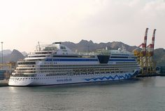 Sultanate of Oman - Muscat. The Aida line cruise ship the Diva at Muscat, Oman.