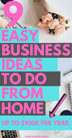 This post covers 9 easy business ideas you can do from home. If you're looking for ways to make money from home or for a new home career then this post will help you. Ways To Earn Money, Earn Money From Home, Earn Money Online, Easy Business Ideas, Craft Business, Start A Business From Home, Starting Your Own Business, Legit Work From Home, Work From Home Jobs