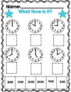 Telling time to the hour practice part of 31 page telling time unit all common core aligned