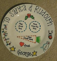 Personalised handpainted Christmas Santa treat mince pie plate Xmas eve gift Christmas Eve Plates, Christmas Fayre Ideas, Mickey Christmas, Christmas Eve Box, Childrens Christmas, Christmas Baubles, Family Christmas, Winter Christmas, All Things Christmas