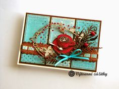 VyZa: Cup card. Turquoise, red, brown.