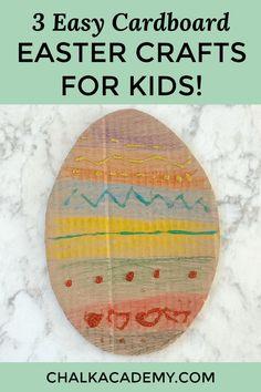 Easy crafts for kids - cardboard Easter Egg decorations