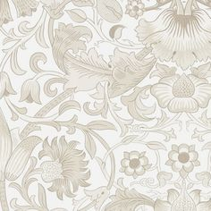 Pure Lodden Wallpaper A large scale, simplified version of the original Morris & Co. Lodden Fabric (1884), this sumptuous wallpaper was created by screen printing and mixing different inks and colours by hand. Shown in matt and metallic linen on ivory ground.
