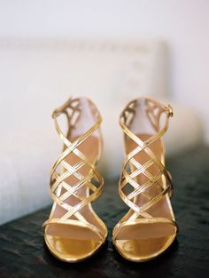 Gold Heels | Read More: http://www.stylemepretty.com/california-weddings/2014/07/08/romantic-diy-vineyard-wedding/ | Photography: Marisa Holmes - www.marisaholmesblog.com