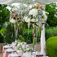 The Tall Centerpieces Will Be Trumpet Vases With Large Sprays Of Natural Grapewood White Hydrangeas