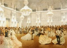 A 19th century painting of the Ballroom in the Winter Palace, St. Petersburg, Russia. Tsar Alexander II can be seen sitting in the background....Eras of Elegance